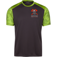 Proto ST371 Sport-Tek CamoHex Colorblock T-Shirt T-Shirts CustomCat Iron Grey/Lime Shock X-Small