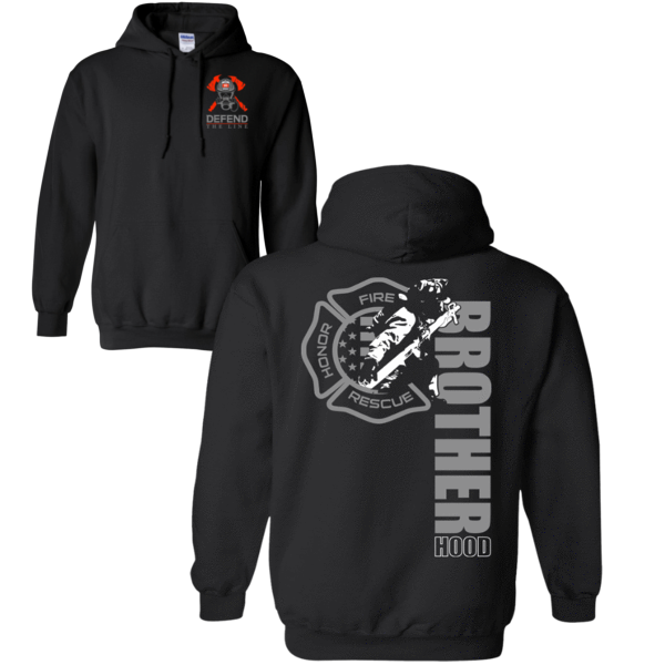 Men's Firefighter Brotherhood Hoodie Sweatshirts Black S