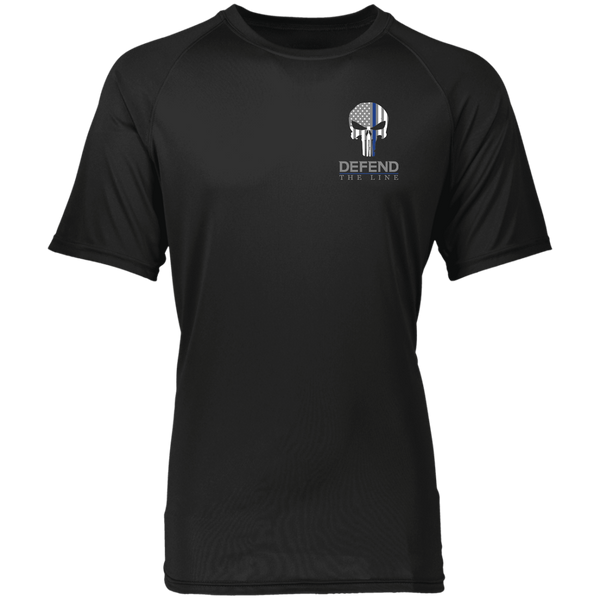 Men's Punisher Thin Blue Line Athletic Shirt T-Shirts CustomCat Black S
