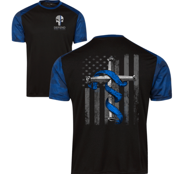 Men's Punisher Thin Blue Line Cross Flag Athletic Shirt T-Shirts