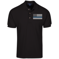 Men's Thin Blue Line Embroidered Cotton Knit Polo Polo Shirts Black X-Small