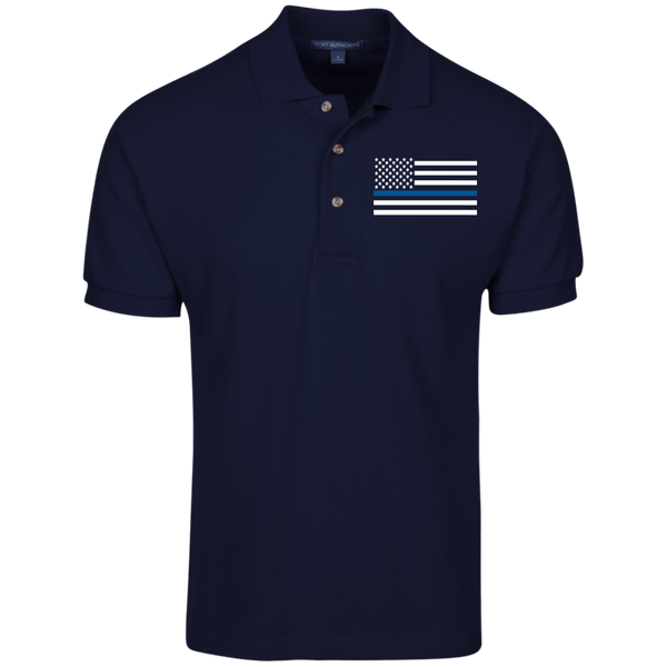 Men's Thin Blue Line Embroidered Cotton Knit Polo Polo Shirts Navy S