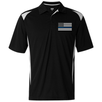 Mens' Thin Blue Line Embroidered Premier Sport Shirt Polo Shirts CustomCat Black/White S