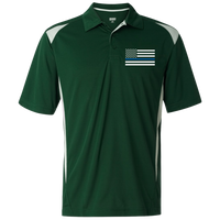 Mens' Thin Blue Line Embroidered Premier Sport Shirt Polo Shirts CustomCat Dark Green/White S