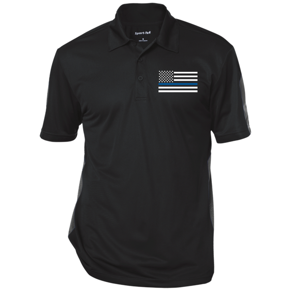 Mens' Thin Blue Line Performance Textured Three-Button Polo Polo Shirts CustomCat Black/Gray X-Small