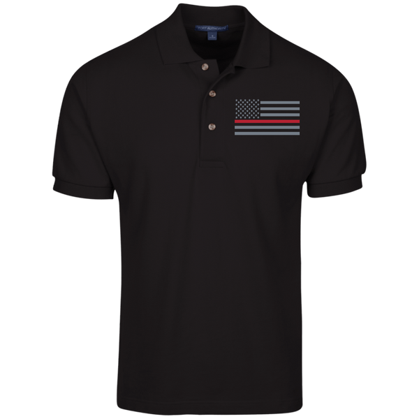 Men's Thin Red Line Embroidered Cotton Knit Polo Polo Shirts Black X-Small