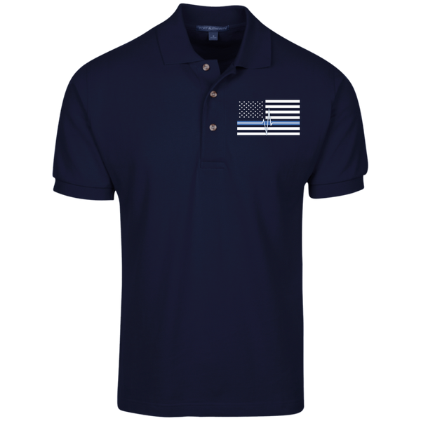 Men's Thin White Line Embroidered Cotton Knit Polo Polo Shirts Navy X-Small