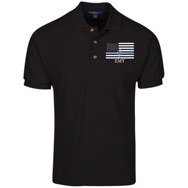 Men's Thin White Line EMT Embroidered Cotton Knit Polo Polo Shirts Black X-Small
