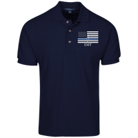 Men's Thin White Line EMT Embroidered Cotton Knit Polo Polo Shirts Navy X-Small