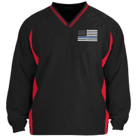 Men's Thin White Line Pullover Windshirt Jackets Black/True Red X-Small