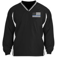 Men's Thin White Line Pullover Windshirt Jackets Black/White X-Small