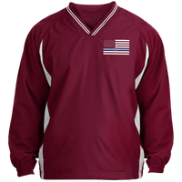 Men's Thin White Line Pullover Windshirt Jackets Maroon/White X-Small