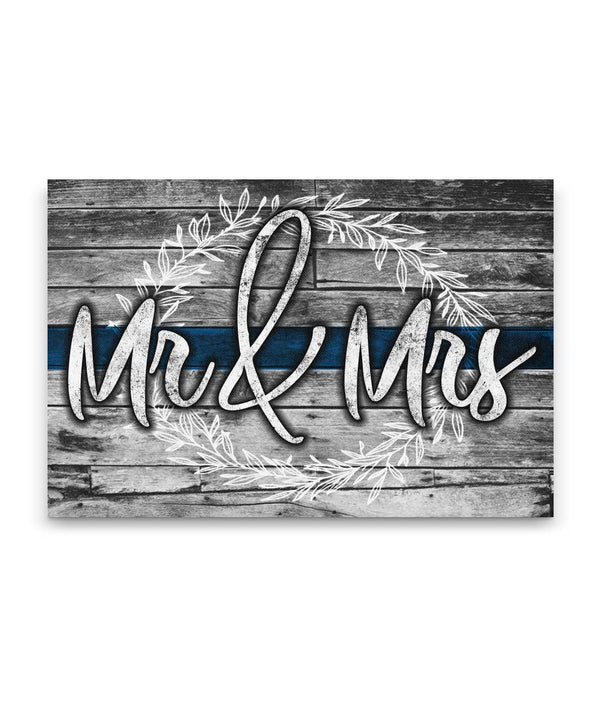 Mr & Mrs Thin Blue Line Canvas Decor ViralStyle Premium OS Canvas - Landscape 18x12*