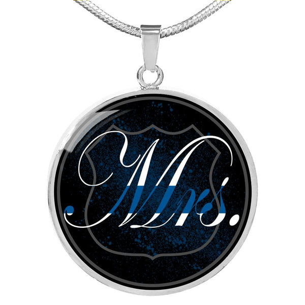 Mrs Thin Blue Line Engravable Necklace Jewelry Luxury Necklace (Silver) No