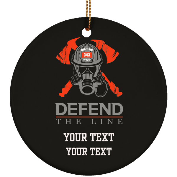 Personalized Defend The Line Firefighter Skull Ornament Housewares Black One Size