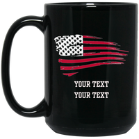 Personalized Tattered Red Flag Mug Drinkware Black One Size
