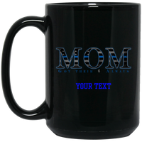 Personalized Thin Blue Line Mom Mug Drinkware Black One Size