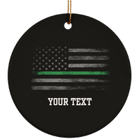 Personalized Thin Green Line Ornament Housewares Black One Size