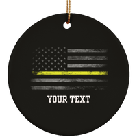 Personalized Thin Yellow Line Dispatch Ornament Housewares Black One Size