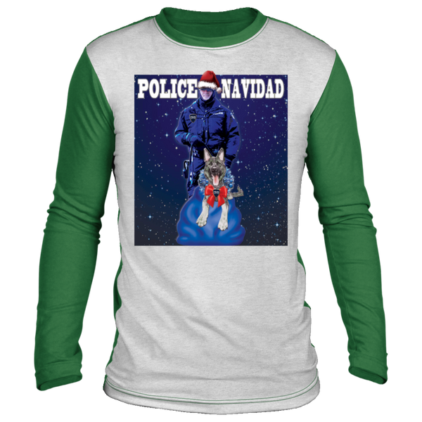 Police Navidad Christmas Sweater Long Sleeve T-Shirts White/Green S