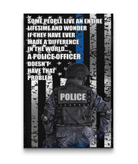 Police Officer Thin Blue Line Canvas Decor ViralStyle Premium OS Canvas - Portrait 24x36*
