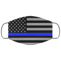 Police Thin Blue Line Flag Face Cover Accessories White One Size