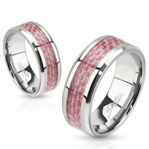 Proto Ladies' Pink Carbon Fiber Engravable Ring Ring 5 No
