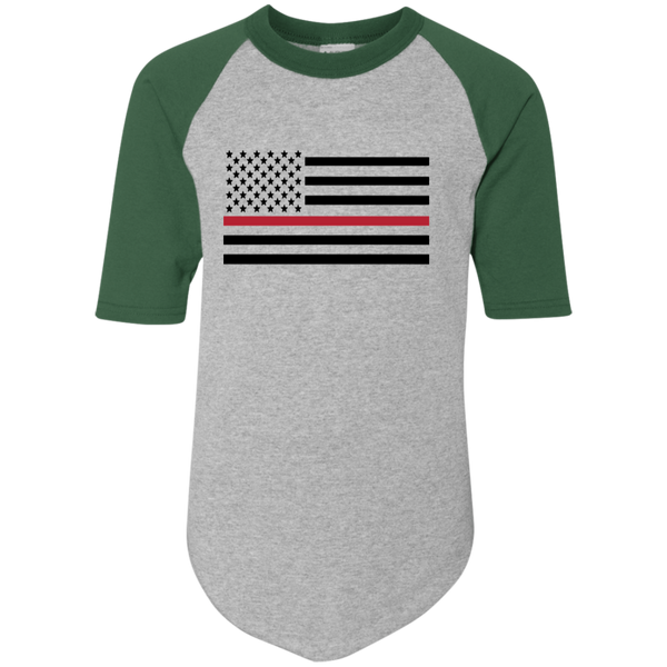 Proto Thin Red Line Youth Colorblock Jersey T-Shirts Athletic Heather/Dark Green YS