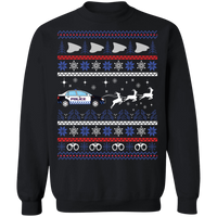 protoMen's Police Car Ugly Christmas Sweater Pullover Sweatshirts Black S