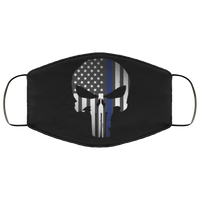 Punisher Thin Blue Line Face Cover Accessories White One Size
