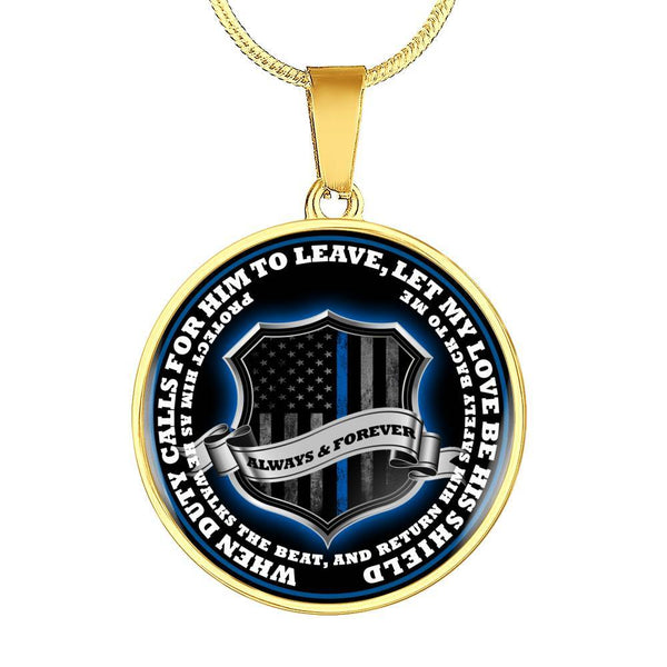Return Him Safely Thin Blue Line Shield Necklace or Bangle Jewelry ShineOn Fulfillment Luxury Necklace (Gold) No