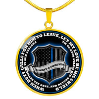 Return Him Safely Thin Blue Line Shield Necklace or Bangle Jewelry Luxury Necklace (Gold) No