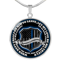 Return Him Safely Thin Blue Line Shield Necklace or Bangle Jewelry Luxury Necklace (Silver) No