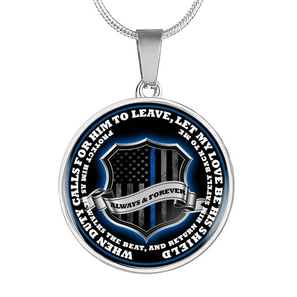 Return Him Safely Thin Blue Line Shield Necklace or Bangle Jewelry ShineOn Fulfillment Luxury Necklace (Silver) No