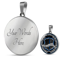 Return Him Safely Thin Blue Line Shield Necklace or Bangle Jewelry Luxury Necklace (Silver) Yes