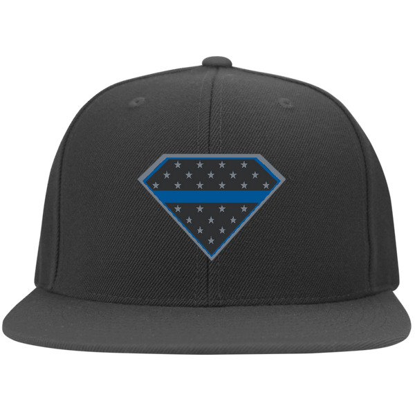 Super Thin Blue Line Hat Apparel CustomCat 6297F Yupoong Flat Bill Twill Flexfit Cap Dark Grey S/M