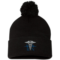 The Nurse's Embroidered Caduceus Pom Pom Cap Hats Black One Size