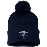 The Nurse's Embroidered Caduceus Pom Pom Cap Hats Navy/ One Size