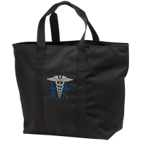 The Nurse's Embroidered Caduceus Tote Bag Bags Black/Black One Size