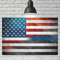 Thin Blue Line American Flag Canvas Decor ViralStyle