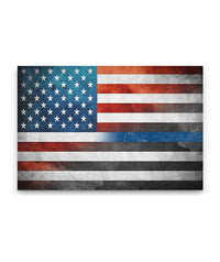 Thin Blue Line American Flag Canvas Decor ViralStyle Premium OS Canvas - Landscape 18x12*