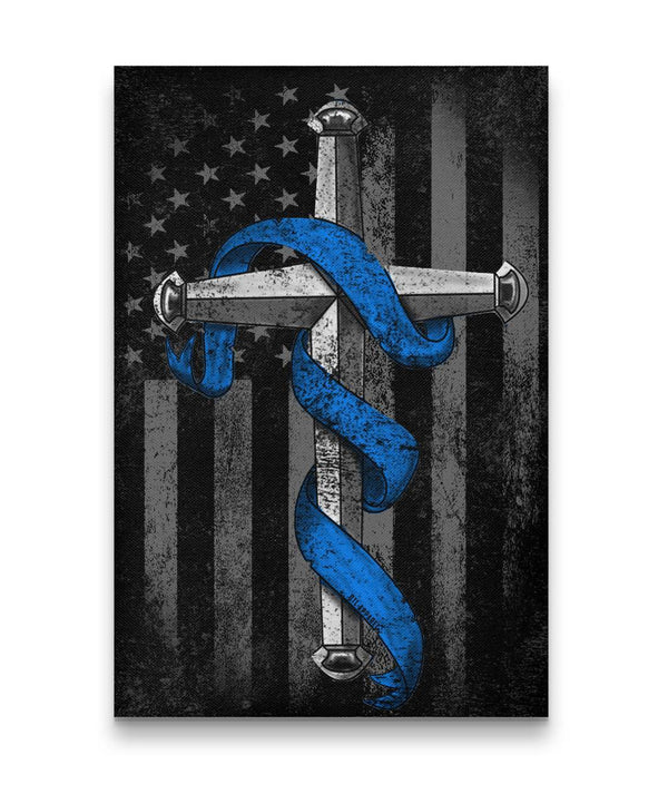 Thin Blue Line Cross Canvas Decor ViralStyle Premium OS Canvas - Portrait 12x18*