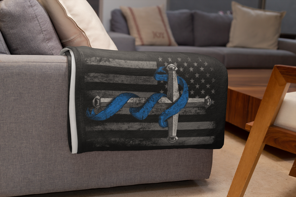 Thin Blue Line Cross Fleece Blanket Blankets