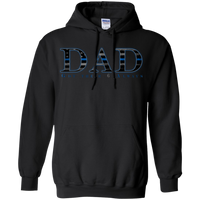 Thin Blue Line Dad Hoodie Sweatshirts CustomCat Black Small