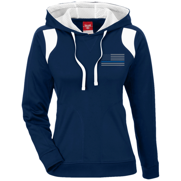 Thin Blue Line Delta Ops Embroidered Hoodie For Ladies Sweatshirts CustomCat Dark Navy/White X-Small