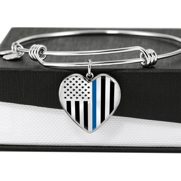 Thin Blue Line Engravable Heart Bangle - Silver or Gold Jewelry ShineOn Fulfillment