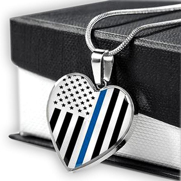 Thin Blue Line Engravable Heart Necklace - Silver or Gold Jewelry ShineOn Fulfillment