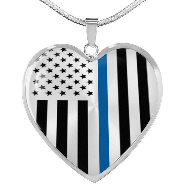 Thin Blue Line Engravable Heart Necklace - Silver or Gold Jewelry ShineOn Fulfillment Luxury Necklace (Silver) No