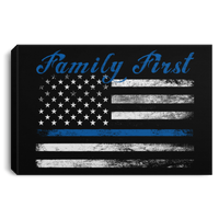 "Thin Blue Line Family First Canvas Housewares Black 18"" x 12"""