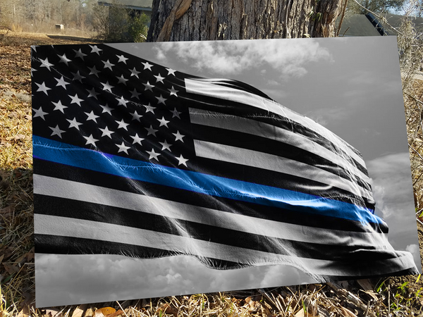 Thin Blue Line Flag Waving Canvas Decor ViralStyle